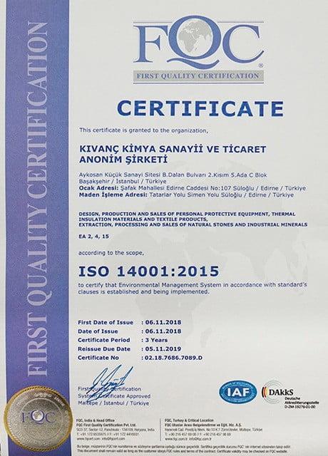 Kıvanç Kimya_ISO 14001-2015 Belgesi_Ingilizce