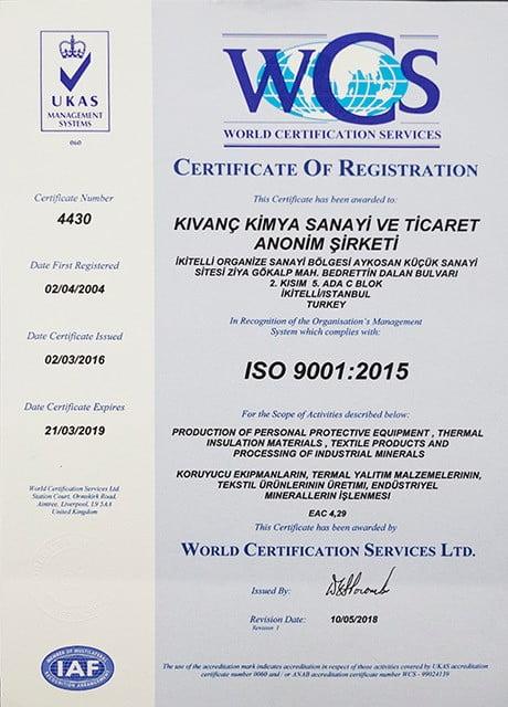Kıvanç Kimya_ISO 9001-2015 Belgesi_Türkçe-Ingilizce