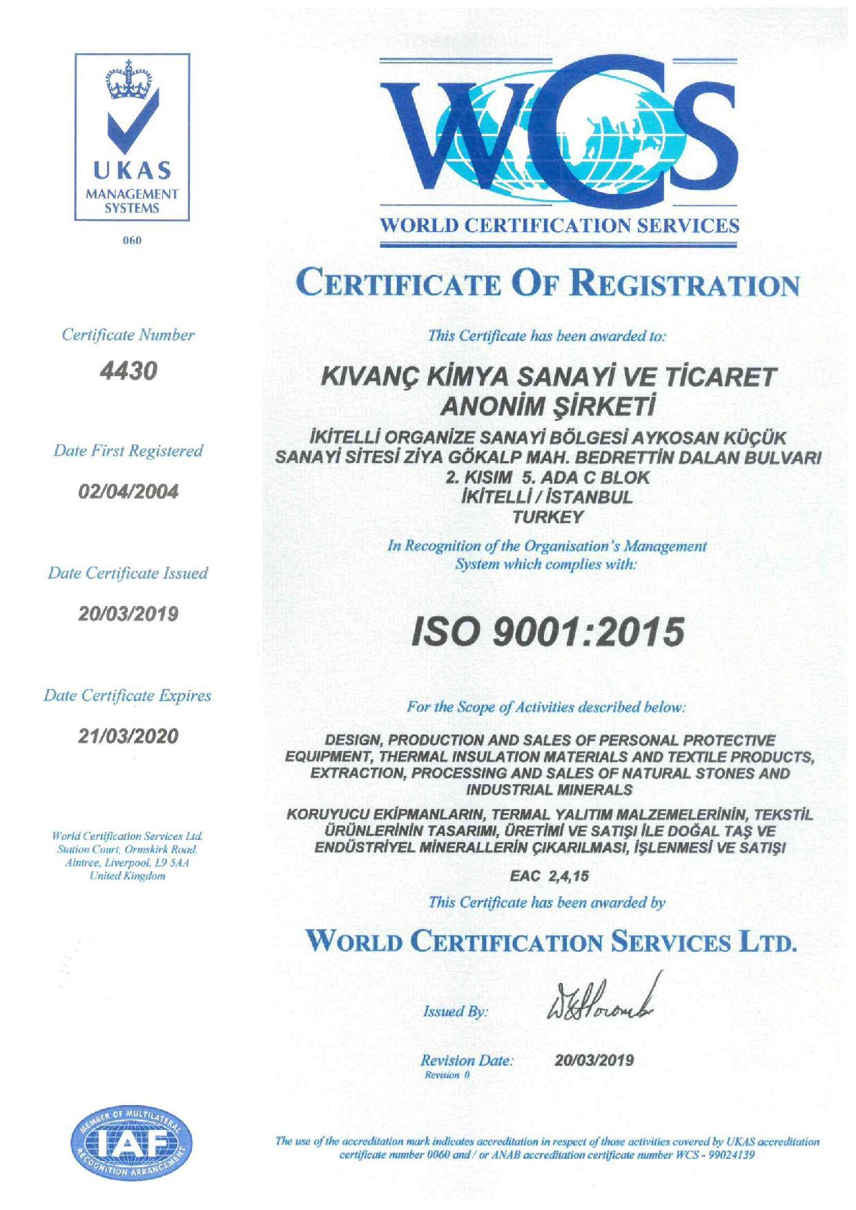 Kıvanç Kimya_TS EN ISO 9001-2015 Belgesi-GÜNCEL