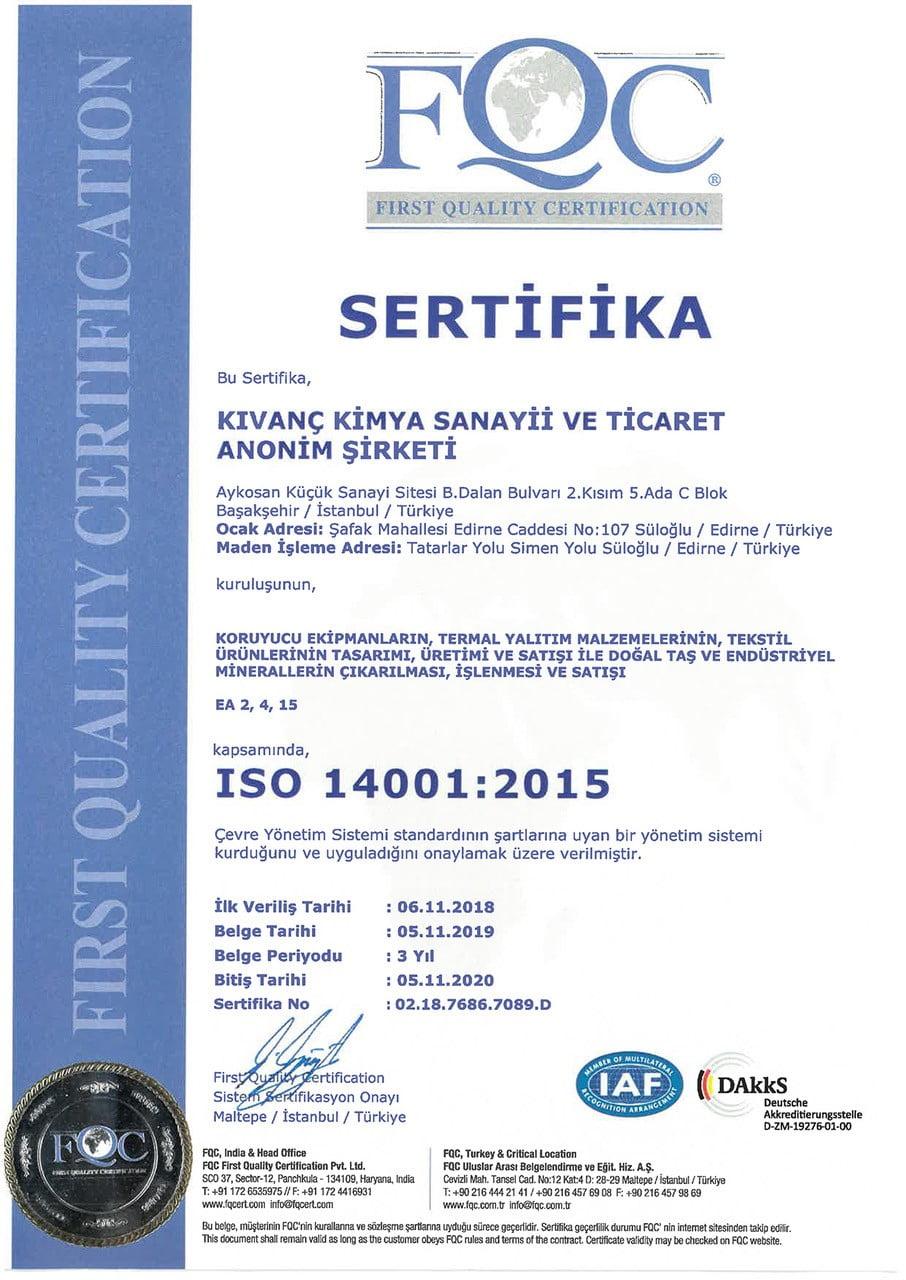Kıvanç Kimya_ISO 14001-2015 Belgesi_Türkçe