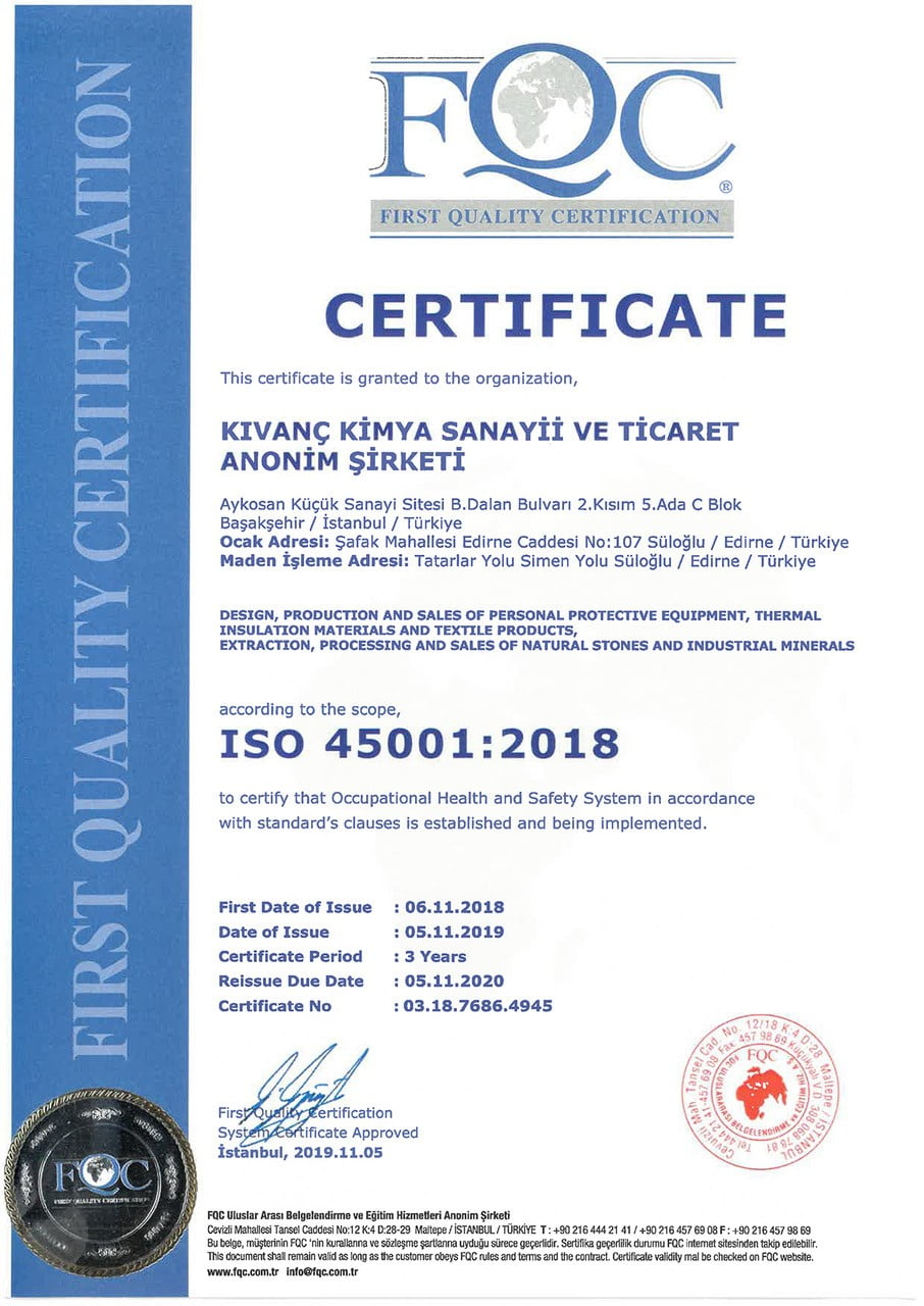 Kıvanç Kimya_ISO 45001-2018 Belgesi_Ingilizce