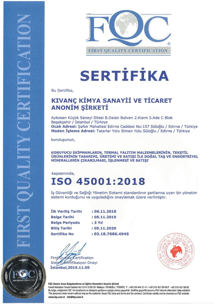 Kıvanç Kimya_ISO 45001-2018 Belgesi_Türkçe