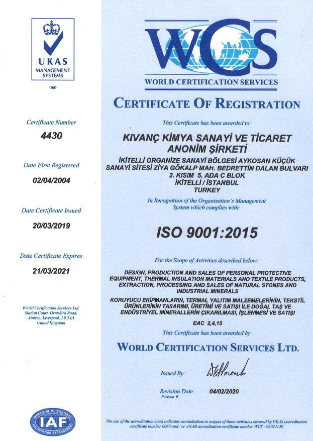 Kıvanç Kimya_TS EN ISO 9001-2015 Belgesi