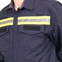 Chest patch pockets with flaps closed by snap buttons